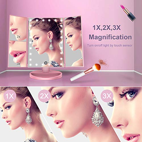 BESTOPE Makeup Vanity Mirror with Lights, 2X/3X Magnification, 21 Led Lighted Mirror with Touch Screen,180° Adjustable… 2