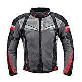 Summer Motorcycle Riding Jacket,Mesh Breathable CE Armored Anti-Impact Clothing for Men (Black, X-Large)
