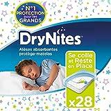 Huggies, Alèses absorbantes jetables pour lit simple (88 x 78 cm), Pour enfants de 3 à 15 ans, 28 alèses (4 x 7 unités), DryNites Bedmats
