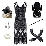 1920s Women's Gatsby Costume Flapper Dresses V Neck Fringed Dress with 20s Accessories Set of 7 Black