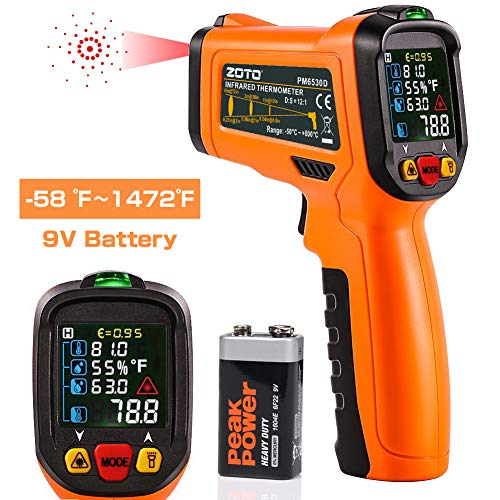 ZOTO Infrared Thermometer, Non Contact Digital Laser Temperature Gun Instant Read -58 to 1472with Color LED Display and K-Type Thermocouplefor Kitchen Cooking BBQ Automotive and Industrial
