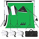 Andoer Photography Studio Softbox Lighting Kit with 6.5ftx10ft(2X3Meters) Background Support System...