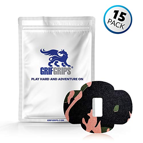 GrifGrips Wrap Grip Sports Adhesive Patch for Dexcom G6 - Pack of 15 (Camo)