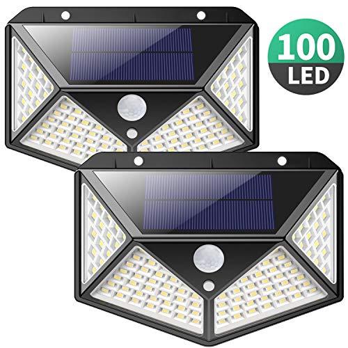 Luce Solare LED Esterno,【270°Angolo Illuminazione-2200mAh】100LED Lampada Solare con Sensore di...