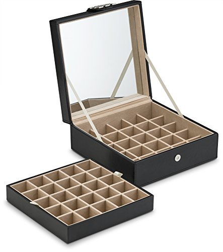 Product Image 5: Glenor Co Classic 50 Slot Jewelry Box Earring Organizer with Large Mirror, Black