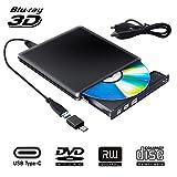 Lecteur Graveur Blu Ray Externe DVD CD 3D, USB 3.0 Portable Lecteur Blu-Ray Slim...
