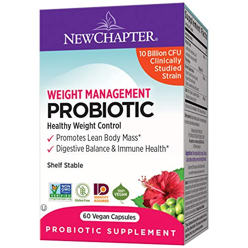New Chapter Weight Management Probiotic, 60ct (2 Month Supply), Probiotics for Men & Women with Prebiotics and Probiotics + 100% Vegan + Soy Free + Non-GMO 1