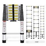 Yesker 12.5ft Telescoping Ladder Aluminum Telescopic Extension Multi Purpose Ladders EN131 Certified - Extendable...