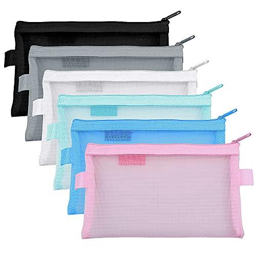 Meetory 6 pezzi Zip Mesh Zipper Pouches Pencil Case multiuso Organizer Storage Bags per viaggi Cosmetici Forniture per ufficio (6 colori)