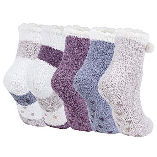 Calzettoni Donna Invernali - Calze Fuzzy Carine, Calzino Morbido Invernale da Donna Calze da Letto Calzini Regalo di Natale (Viola)