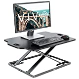 VIVO Black Single Top Height Adjustable 32 inch Standing Desk Converter | Sit Stand Tabletop Monitor Laptop Riser Workstation (DESK-V000HB)