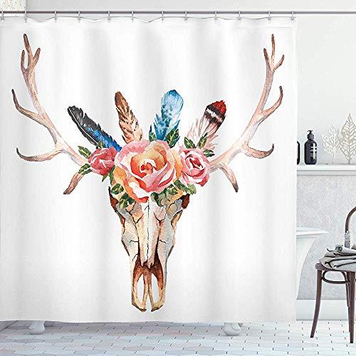 FANCYDAY Cortina de Ducha con decoración de asta, Calavera con Cabeza de Ciervo Bohemio Decorada con Rosas y Plumas Dibujadas a Mano, Multicolor