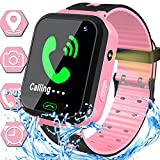 Waterproof Kids Smart Watch for Boys Girls GPS Tracker Smartwatch Phone Kids Wrist Watch Electronic Sport Watch with SOS Calls Alarm Clock Game Flashlight 3-14 Years Birthday Travel Gift