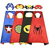 Roko Toys for 3-10 Year Old Boys, Superhero Capes for Kids 3-10 Year Old Boy Gifts Boys Cartoon Dress up Costumes Party Supplies 4 Pack RKUSPF04
