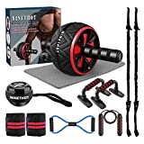 Ab Roller Set,9-in-1 Abs Workout Equipment,Home Gym Kit with Knee Mat,Push Up Bars,Jump Rope,Resistance Band,Wrist Wraps for Weightlifting,Gyroscope Wrist Exerciser, Abdominal Trainer Exercise
