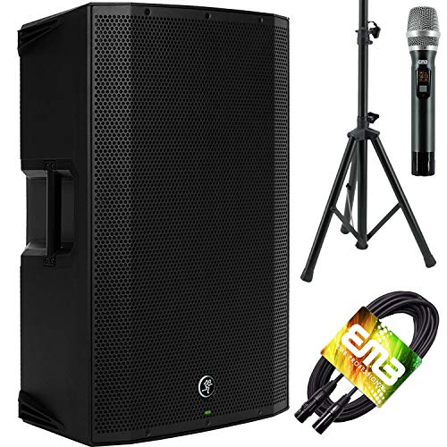 Mackie Thump12A - 1300W 12' Powered Loudspeaker (Single) with EMB Speaker Stand + EMB Microphone and EMB XLR Cable Bundle