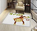 Nursery Non Slip Rugs Cute Cartoon Monkey Hanging on Liana Playful Safari Character Cartoon Mascot Indoor/Outdoor Area Rug 32'x48' Brown Green Pink