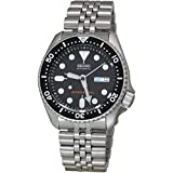 Gents Stainless Steel Analogue Automatic Movement Military Black dial and Metallic strap or bracelet Diver's 200mt Watch calendar is both in English and French