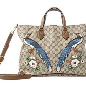 Gucci GG Supreme Peacock Brown Tote Leather Floral Bag Bird Handbag Ebony New 13