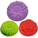 Lot de 3 moules en forme de fleurs en silicone pour gâteau, tarte, flan,...