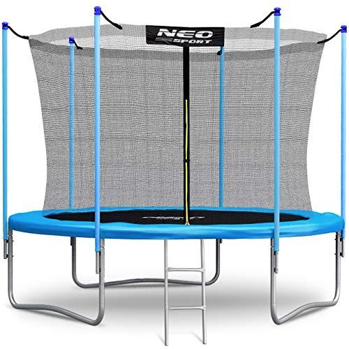 NeoSport Trampolin 305 cm 10ft mit Sicherheitsnetz Innennetz und Einstiegsleiter PRO Gartentrampolin