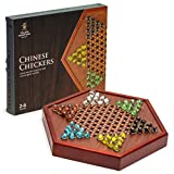 Yellow Mountain Imports Wooden Chinese Checkers Board Game Set - 12.7 Inches - with Drawers and Colorful Glass Marbles