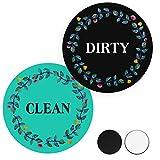 Clean Dirty Magnet for Dishwasher, Dishwasher Magnet Trendy Design Double Sided Reversible Indicator Refrigerator Magnet Universal Dish Washer Label (Tiffany Blue&Black)