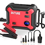 BUTURE Car Jump Starter with Air Compressor, 2500A Peak 23800mAh 12V Auto Battery Booster(up to All Gas and 8.0L Diesel), 150 PSI Tire Inflator, QC3.0 Power Bank with 120W DC Out and Emergency Light