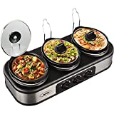 Triple Slow Cooker with Non-Skid Feet, 3×1.5 QT Slow Cooker Buffet Server, 3 Pots Food Warmer Adjustable Temp Lid Rests Stainless Steel Manual Silver for Parties Holidays Families