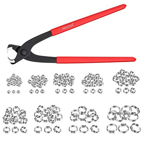 Proster Einzelohr Stufenlos Schlauchschellen Set mit Zange und 304 Edelstahl 150 STÜCKE Schhlauchklemmen 6mm - 31,6mm mit 9 verschiedene Größen Einzelohrschlauchklemme Crimper Werkzeug Kit
