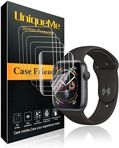 UniqueMe Per Pellicola Protettiva Apple Watch 44mm (Series 6/5/4/SE Compatible), [5 pezzi] [Bubble-Free] Liquid Skin HD Clear TPU Film Flessibile Con Garanzia Di Sostituzione A Vita
