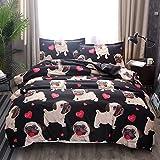 ZHH Pug Puppy Duvet Cover Sets Kids' Bedding Set Ultra Soft Hypoallergenic Microfiber Cute Animal Dog Pattern Boys Children's Quilt Cover Bedding Set, 1 Duvet Cover + 1 Pillowcases(Twin Size)