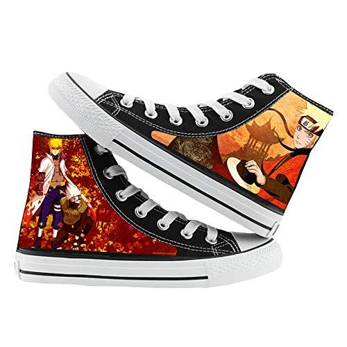 Naruto Zapatos Zapatillas de Lona de Anime Zapatillas Altas Zapatillas de Suela de Goma for Estudiantes (Color : Black01, Size : EU40 US8.5)