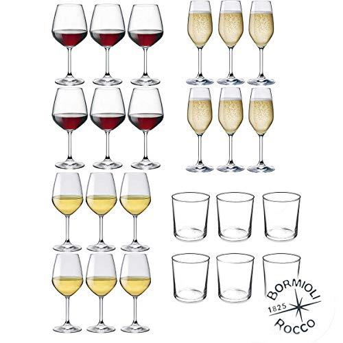 Bormioli Rocco - Servizio per 6 Persone, Set 24 pz: 6 Calici Vino Bianco DIVINO + 6 Calici Vino Rosso DIVINO + 6 Flute da Champagne & Prosecco DIVINO + 6 Bicchieri Acqua Vetro Trasparente Bodega