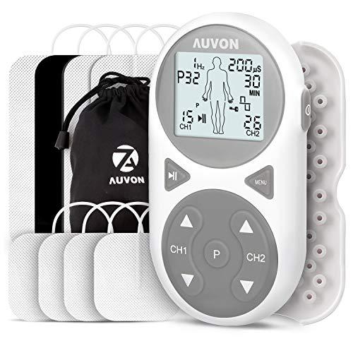 AUVON TENS Gerät, 3-in-1 TENS EMS Massagegerät mit 38 Trainigsprogramme, 2 Kanäle, 60 Intensitätsstufen und 8 Stück Premium Elektroden Pads zur Schmerzlinderung, Muskelstimulation und Entspannung