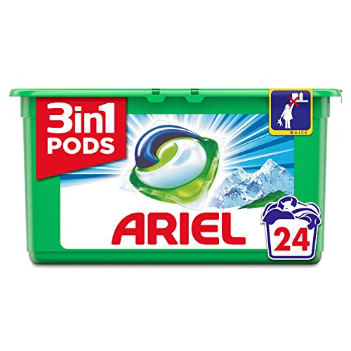 Ariel 3en1 Pods Detergente Cápsulas, Alpine, Limpieza Increíble, Limpia, Quita Manchas, Ilumina- 24Lavados