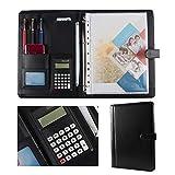 Keliour Presentar Bastidores Grupo PU Maletín Carpeta calculadora Business Case y Bloc de Notas para la Oficina de la Escuela (Color : Black, Size : 334x245mm)