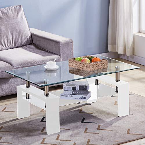GOLDFAN Tavolino Rettangolare in Vetro Temperato per Contenitore da caffè Tavoline Salotto con Ripiano Inferiore, Design Multifunzionale, Bianco