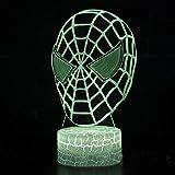 Spiderman thème tag lumière de nuit 3D jeu LED lumière de nuit 7 changement de couleur tactile lampe lampe jouets pour enfants décoration de la maison