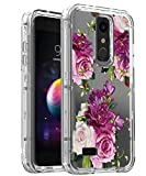 AMPURSQ Case for LG K30 X410/LG Premier Pro LTE L413DL/LG Phoenix Plus/LG Harmony 2/LG Xpression Plus, Hybrid TPU Bumper and Floral PC Hard Clear Protective Armor Phone Cover (Color Floral)