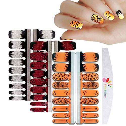 BornBeauty 3 Sheets Glitter Gradient Nail Polish Strips Adhesive Halloween Design Stickers for Women Fingers and Toes with Nail File DIY Manicure Kits