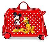Disney Mickey & Pluto Stars Correpasillos Maleta de Cabina Infantil Roja 50x39x20 cm | Equipaje de Mano, Trolley de Viaje Ryanair, Easyjet | Maleta de Viaje Fin de Semana Rígida Divertida