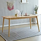 Livinia Aslan Dining Table, Mid Century Solid Hardwood Dining Desk, Rectangle Leisure Table for 6-Person, Kitchen Wooden Desk for Home Living Room Apartment (Natural)