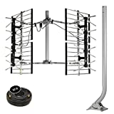 Stellar Labs HDTV Bowtie Antenna - Powerful 80-Mile Range for Free Network TV Signals in Deep Fringe - Multi-Directional, Design - Easy Installation with Included 38' J-Pole Mount & Coaxi
