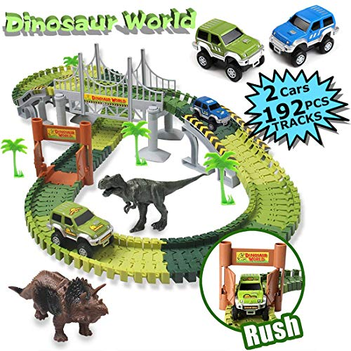 MIECOO Dinosaur Toys Slot Car Race Track Sets Create a Road Dinosaur World Train Tracks Playset with 192pcs Flexible Tracks, 2 Cars, 2 Dinosaurs for Boys Girls Toddlers Aged 3+ Birthday Gifts