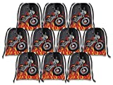 Motorcycle Drawstring Bags Kids Birthday Party Supplies Favor Bags 10 Pack