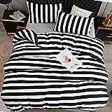 LAMEJOR Striped Duvet Cover Set Queen Size Luxury Soft Bedding Set Comforter Cover White/Black(1 Duvet Cover+2 Pillowcases)