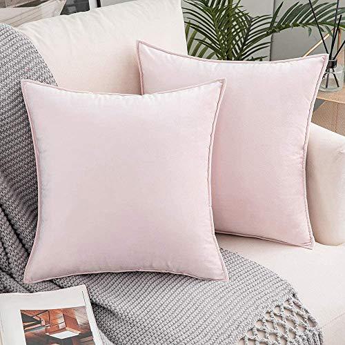 LDRHUY Federe per Cuscino Confezione da 2 Coperture Copricuscini Decorativi Fodere per Cuscino per Federe Cuscini Divano da Letto Casa (Rosa, 50x50cm)