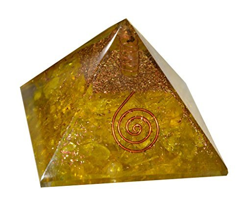 Aatm Energy Generator Yellow Clear Crystal Orgone Pyramid for EMF Protection Chakra Healing Meditation (3 and 3 Inches)