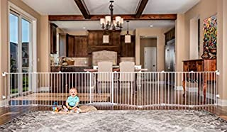 SUPERWIDE: Fits opens up to 192 inches wide and stands 28 inches tall 2-IN-1: Can convert from a super wide gate to an 8-panel play yard. No tools require, quick and easy. Includes 4 pack of wall mounts CONFIGURABLE: Each panel can be adjusted to fit...